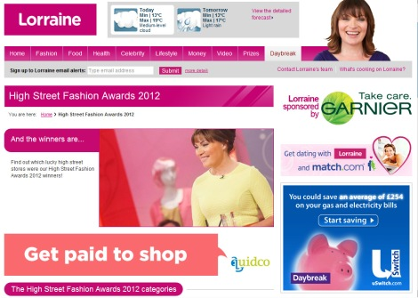 The High Street Fashion awards on the Lorraine website