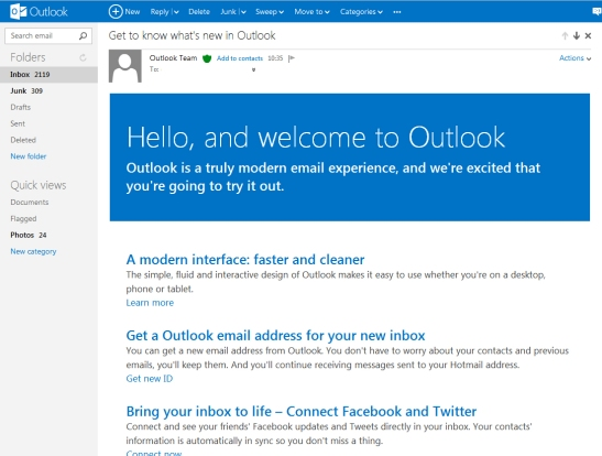 Outlook Homepage